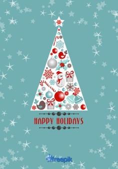 Boas festas Cartão da árvore de Natal com objetos do Natal para dentro