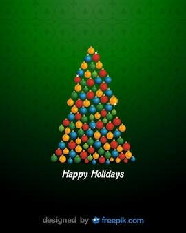 Boas festas com uma árvore de Natal feita com brilhantes bolas de natal