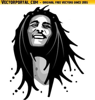 Bob marley retrato reggae music