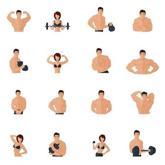 Bodybuilding fitness academia, ícones, plano, forte, homens, mulheres, figuras, levantamento, ferro, isolado, vetorial, Ilustração