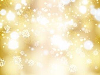 Bokeh de fundo dourado com flocos de neve