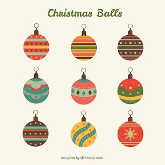 Bolas de natal coloridos e planas embalar