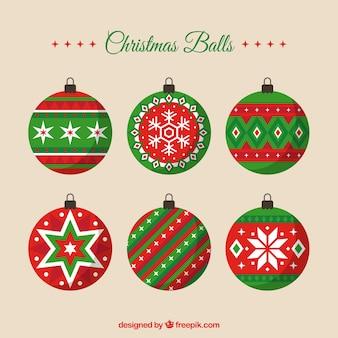 Bolas de Natal decorativas em estilo plano