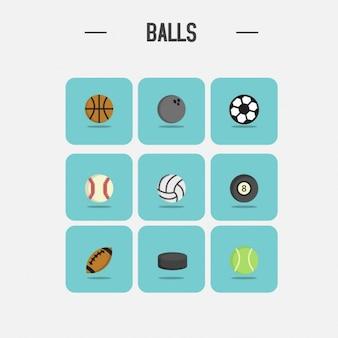 Bolas diferentes ícones coleção
