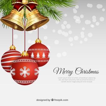 Bolas realistas do Natal com sinos