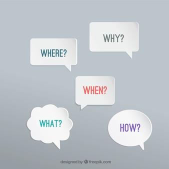 Bolhas do discurso com perguntas