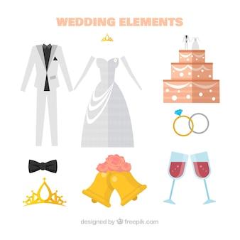 Bolo de casamento com outros elementos