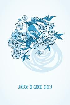 Bom dia, desejando cartão com flores e pássaros