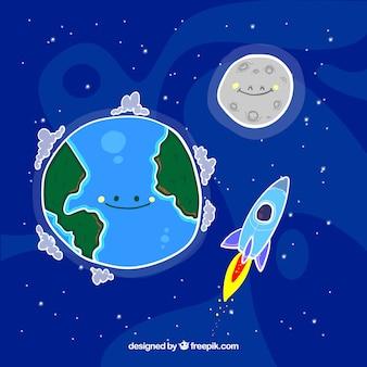 Bom fundo de terra desenhada à mão com lua e foguete