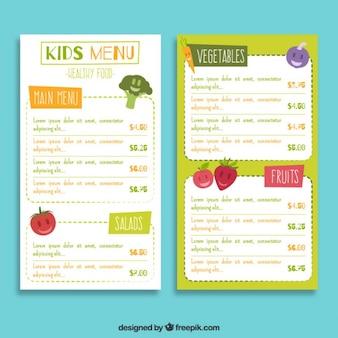 Bom menu para crianças com frutas
