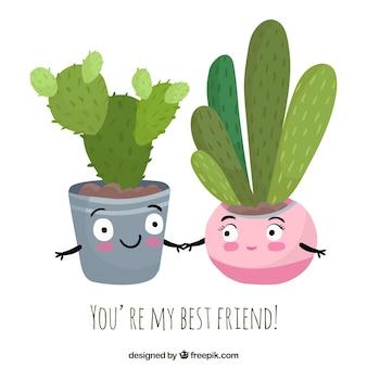 Bom plano de vasos com mensagem de amizade