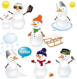 Bonecos de neve bonitos para o Natal com expressões diferentes.