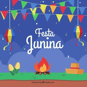 Bonfire e festa junina em design plano