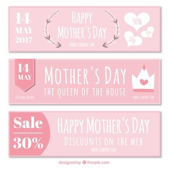 Bonito conjunto de banners dia de desconto da mãe