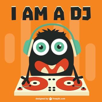 Bonito dj personagem de desenho animado