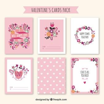 Bonito do Valentim floral cartões do dia pacote