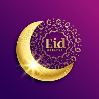 Bonito, dourado, lua, eid, mubarak, muçulmano, festival