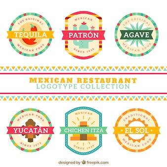 Bonito logos restaurante mexicano em design plano