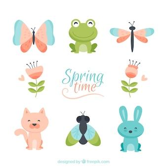 Bonito personagens de primavera