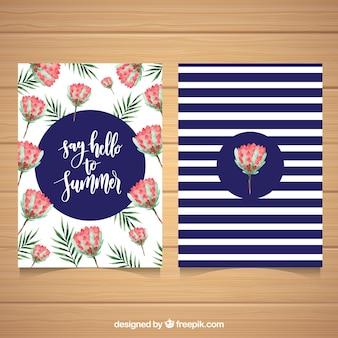 Bonitos cartões de aquarela de verão com flores