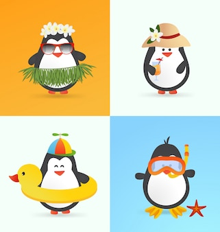 Bonitos personagens de pinguins de verão