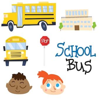 Bonitos vetores da escola e do ônibus escolar