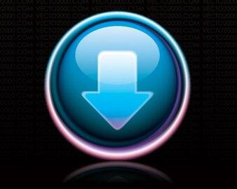botão de download brilhante azul escuro