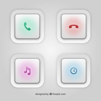 Botões brancos com ícones coloridos