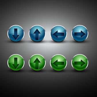 Botões de flecha do vetor em duas cores diferentes