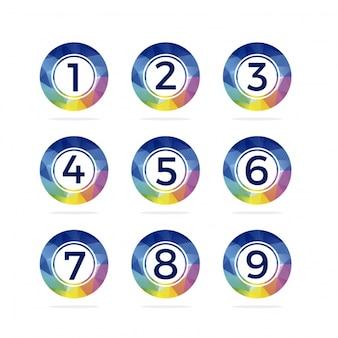 Botões de números arredondados