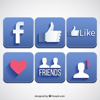 Botões quadrados facebook