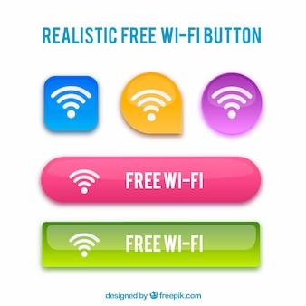 Botões realistas de wifi com variedade de cores