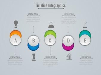 Botões Toggle, cronograma, layout de Infografia, com 5 etapas.