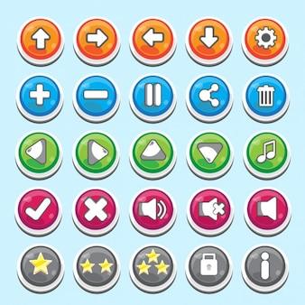 botões úteis no estilo dos desenhos animados