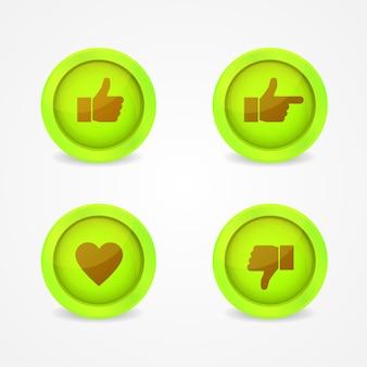 Botões verdes com ícones sobre eles