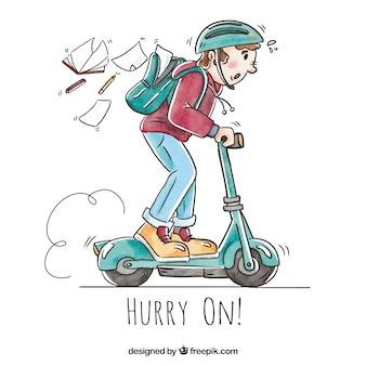 Boy andando scooter elétrico com mochila