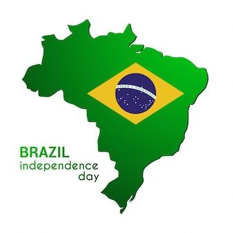 Brasil Dia da independência feliz Mapa do país no modelo de cores das bandeiras