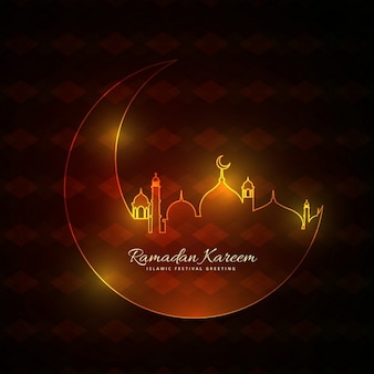 brilhando estilo neon mosque muçulmanos com a lua