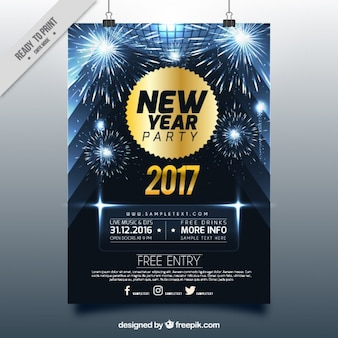 Brilhante nova brochura ano com fogos de artifício