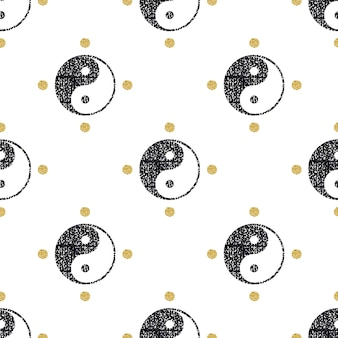 Brilho preto sem costura yin yang com fundo de padrão de ouro glitter