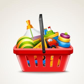 Brinquedos na cesta de compras