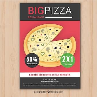 Brochura com oferta de pizza desenhada à mão