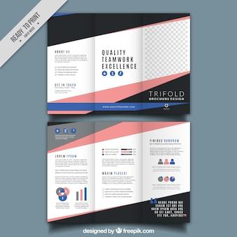 Brochura com três dobras com rosa e azul detalhes
