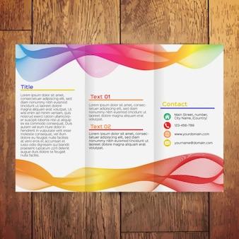 Brochura com três dobras ondulado colorido