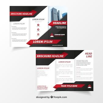 Brochura comercial em preto e branco com detalhes em vermelho