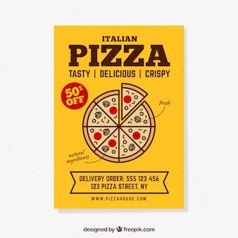 Brochura de desconto em pizza amarelo