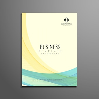 Brochura de negócios elegante ondulado e colorido