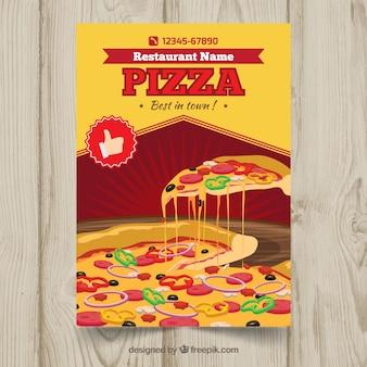 Brochura de pizza e queijo