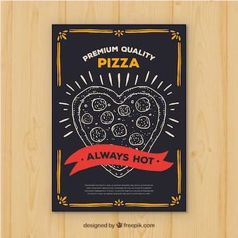 Brochura em pizza em forma de coração vintage