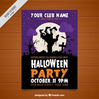 Brochura festa de Halloween com a mão zombie